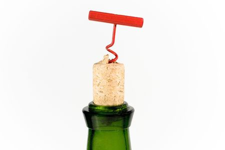 Red bottle-screw, cork and green bottle photo