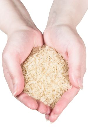 Rice in womans hands (isolated on white) Stock Photo - 3254737