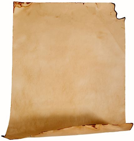 Crumpled old paper (as a roll isolated on white)