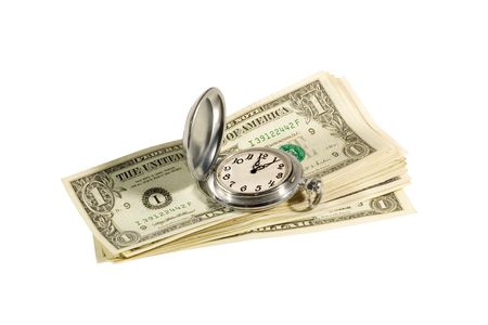 """Antique pocket watch and dollar bills (""""time is money"""" concept)"""