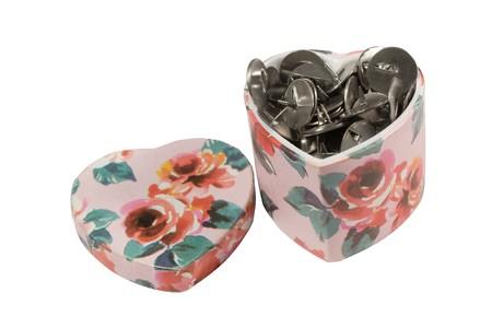swindle: Gift-box full of sharp steel thumbtacks (isolated on white)