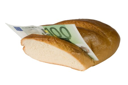 onehundred: One-hundred euro bill in a baguette isolated on white (money sandwich) Stock Photo