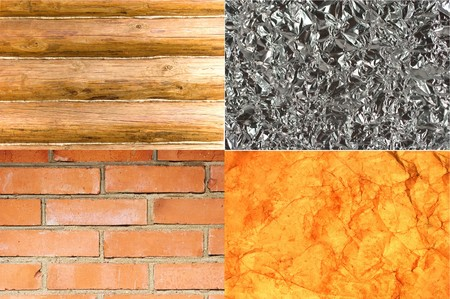 Collection of different backgrounds (wood, glass, brick and old paper) photo