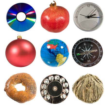 The World Goes Round (a collection of different things of round shape isolated on white) photo