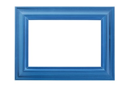 Blue wooden photo frame isolated on white (with empty space for text, photo or picture)
