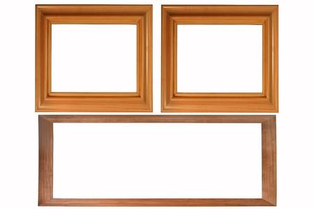 Set of three wooden photo frames isolated on white (with empty space for text, photo or picture) photo