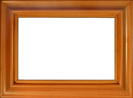 Brown wooden photo frame isolated on white (with empty space for text, photo or picture)