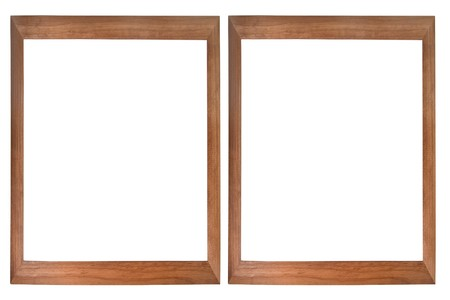 Set of two wooden photo frames isolated on white (with empty space for text, photo or picture) photo