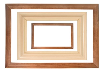 Set of three wooden photo frames isolated on white