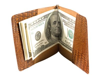 onehundred: One-hundred dollar bills in a leather billfold (isolated on white) Stock Photo