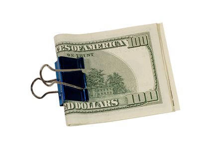 One-hundred dollar bills in a binder clip (isolated on white) photo