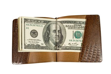 billfold: One-hundred dollar bills in a leather billfold (isolated on white) Stock Photo