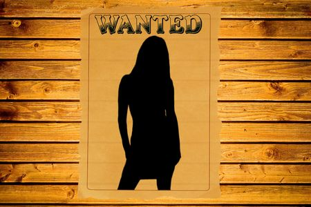 Wanted poster with a female silhouette (vintage Wild West style)