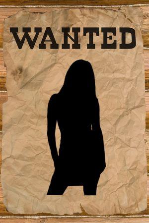 bandidas: Quer�a p�ster con una silueta femenina (estilo vintage de Wild West)