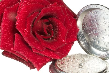 Beautiful red rose with drops of water and antique pocket watch (isolated on white) photo