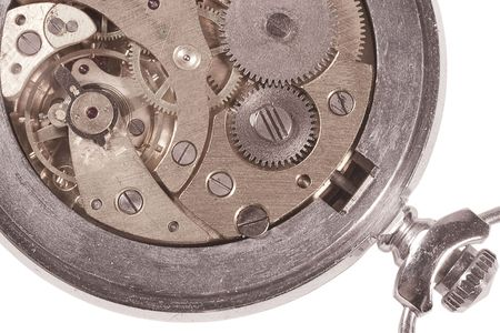 timekeeping: Closeup of an old watch mechanism (isolated on white) Stock Photo
