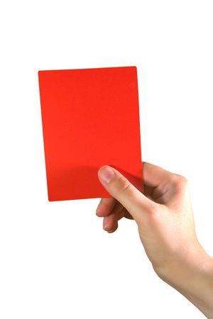 foul: Hand holding a red card (isolated on white)