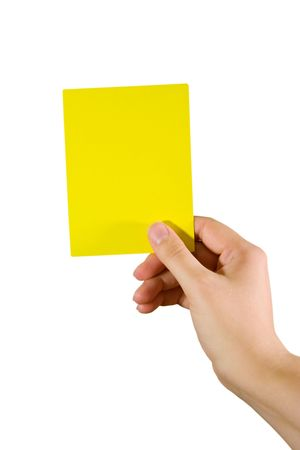 Hand holding a yellow card (isolated on white) Stock Photo - 5609713