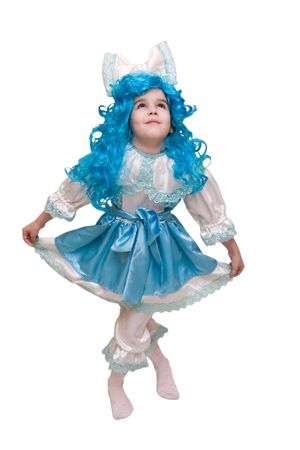 Beautiful little girl dressed up like a doll with turquoise hair (isolated on white) Stock Photo