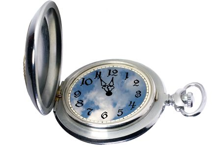 timekeeping: Antique pocket watch isolated on white (with blue sky and clouds instead of the watch face)