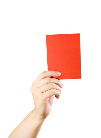 Hand holding a red card (isolated on white) Stock Photo - 5731650