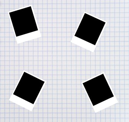 Blank photos on a squared notebook sheet Stock Photo - 5731659