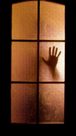 spook: Slightly blurred silhouette of a hand behind a glass door (symbolizing horror or fear)