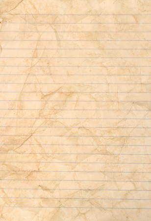 Sheet of stained lined paper
