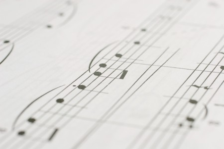 Closeup of music notes (as a background, with shallow depth of focus)