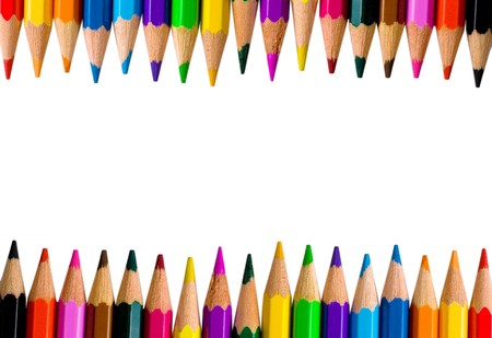Rows of bright color pencils isolated on white (with empty space for your text) photo