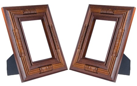 Two Dark Brown Wooden Photo Frames Isolated On White (with Empty ...