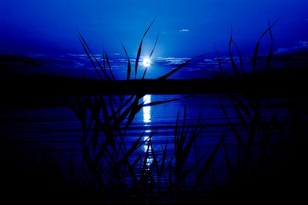 Mystical night (moonlight on the river, in dark blue colors) Stock Photo