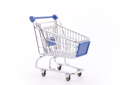 Shopping cart (isolated on white) photo