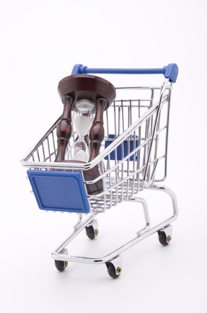 Time for Shopping (a shopping cart with an hour-glass isolated on white) Stock Photo - 9430916