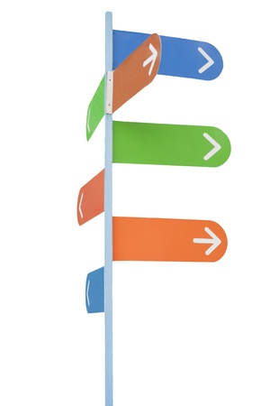 Sign post with white arrows on multi-colored backgrounds (with empty space for your text), isolated on white Stock Photo - 9834238