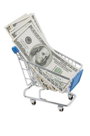 Shopping cart full of US dollars (isolated on white) Stock Photo - 9834252
