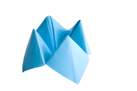 origami paper: Origami made of bright blue paper isolated on white
