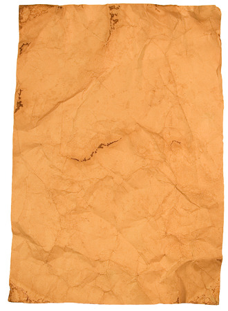crimp: Sheet of crumpled old paper isolated on white