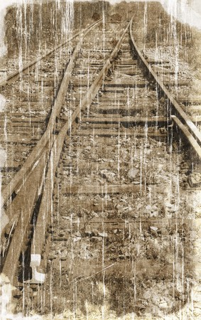 black and white railroad tracks: Old railroad vintage style