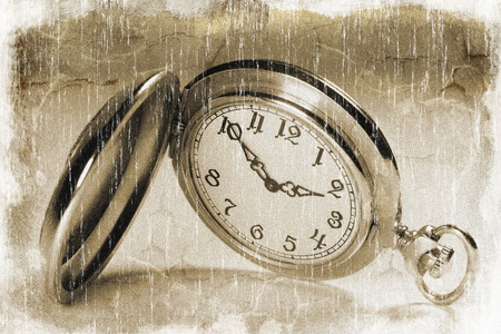 timekeeping: Closeup of an antique pocket watch vintage style Stock Photo