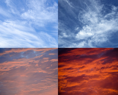 Collection of different skies from the peaceful blue sky to the dramatic stormy sky (as an abstract background) Stock Photo
