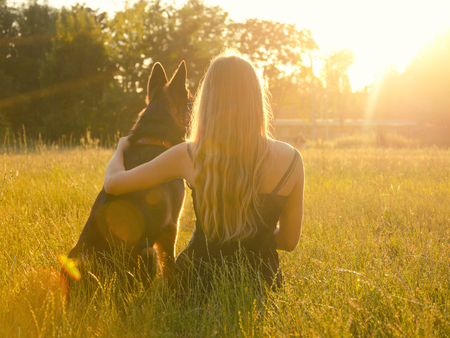 Blurred silhouette of a blonde girl embracing a German shepherd, sitting in the grass in the golden rays of the sun and looking at the sunset (selective focus on the girl), retro style