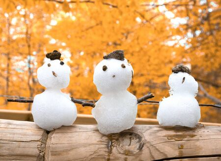 Three little snowmen against the golden autumn background (as the early winter or first snow concept) Standard-Bild