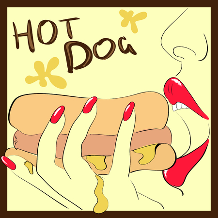 Vector image girl holds in her hand and eat hot dog