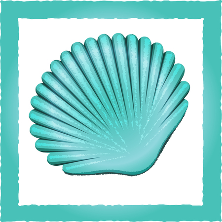 oceanic: Vector illustration blue Seashell