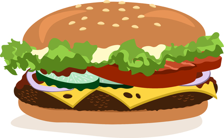 Vector drawing of hamburger with cheese, tomatoes, chop, lettuce, onion, cucumber. Illustration