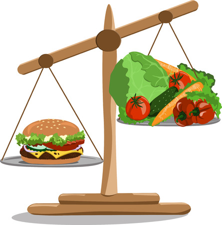 Vector illustration scales with a hamburger and vegetables