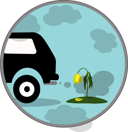 co2: Vector illustration car exhaust, co2, smoke, icon