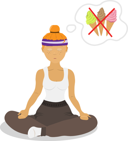 Vector image girl sitting in a lotus position, engaged in yoga, thinking about food. The concept of a healthy diet