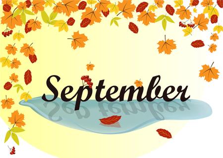 葉の背景にテキスト septamber  イラスト・ベクター素材